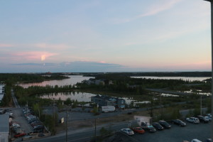 The view of Yellowknife from the Explorer Hotel at midnight. As you can probably tell, the sun does not set this far north in the summer.