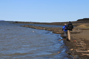 Researchers Rob Macdonald and Greg Lehn walk on the edge of the shore, examining rocks and trash washed to the water's edge. (Photo credit: John Kelly)