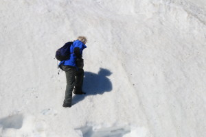 Dr. Rob Macdonald, Ph.D. improvises to climb this snowy face by punching in steps with his boots. (Photo credit: John Kelly)